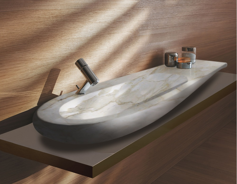 white/ polished Natural Calacatta marble sink