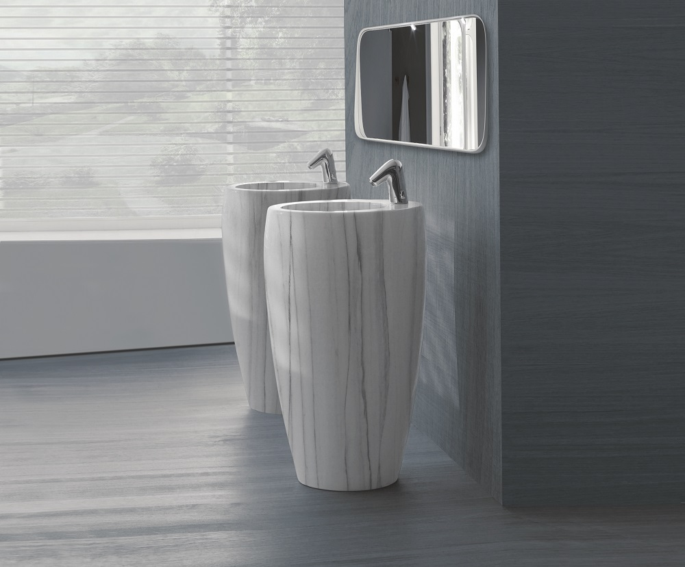 white/ polished Natural Striato Apuano marble sink